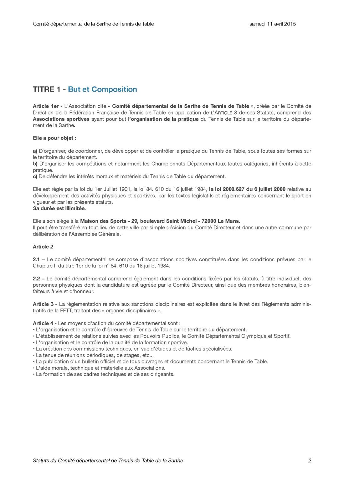 Statuts du Comité départemental