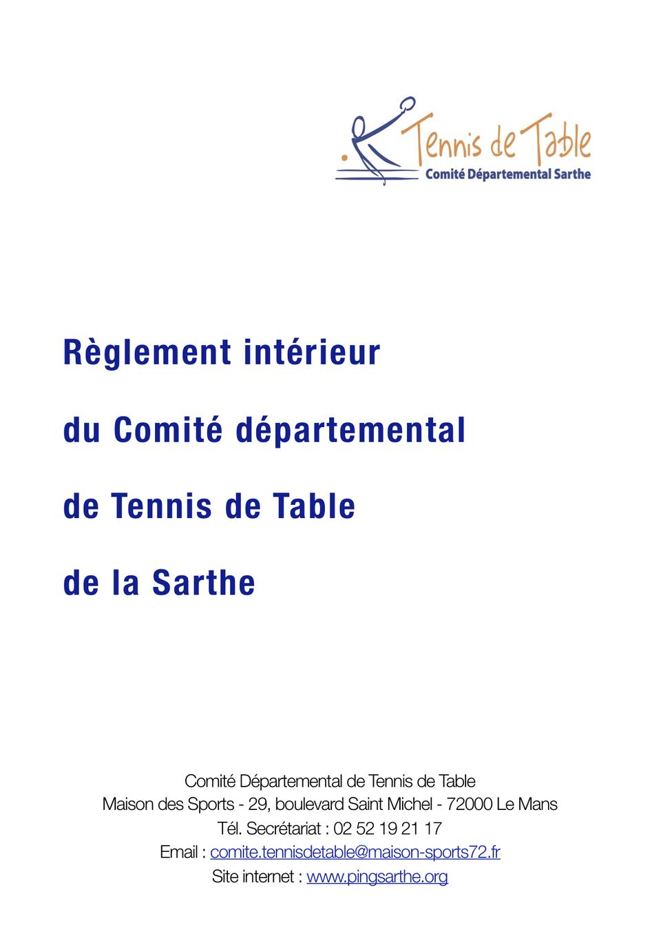 Règlement intérieur du Comité départemental