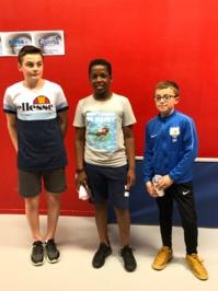 Tableau Minimes 2: Zekakany Patrick (Villaret), 2eme Hardouin Evan (Foulletourte), 3eme Poupin Maxence (La Flèche).