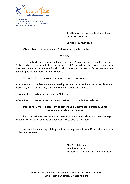 Relais d'informations par le comité