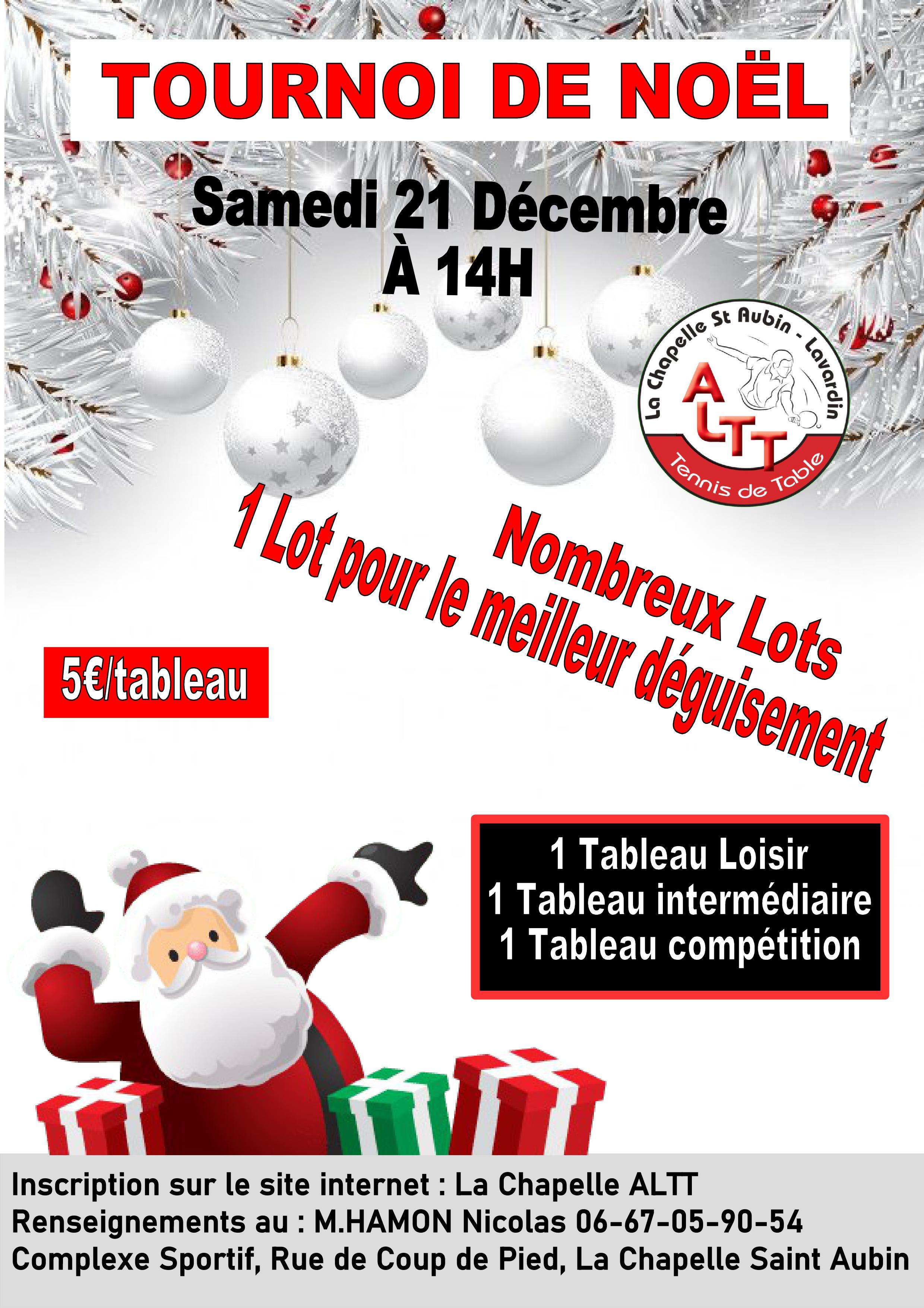 Tournoi de Noël La Chapelle ALTT