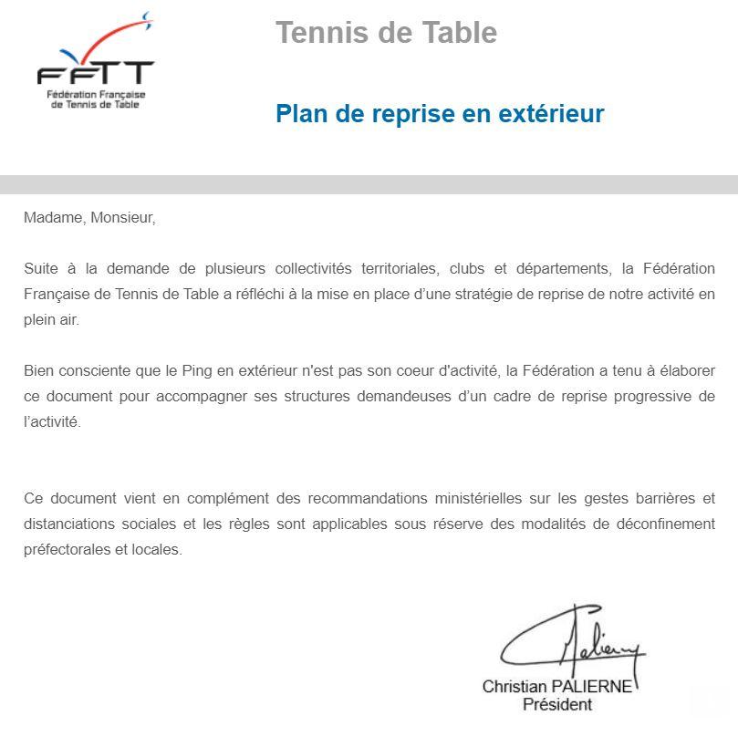 FFTT : Plan de reprise en extérieur