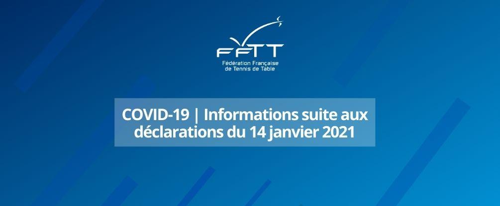 Coronavirus : communication de la FFTT suite aux déclarations du 14 janvier 2021
