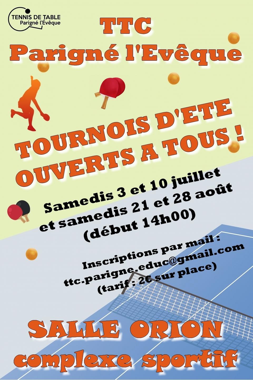 Tournois d'été organisés par le club de Parigné L'Evêque TTC