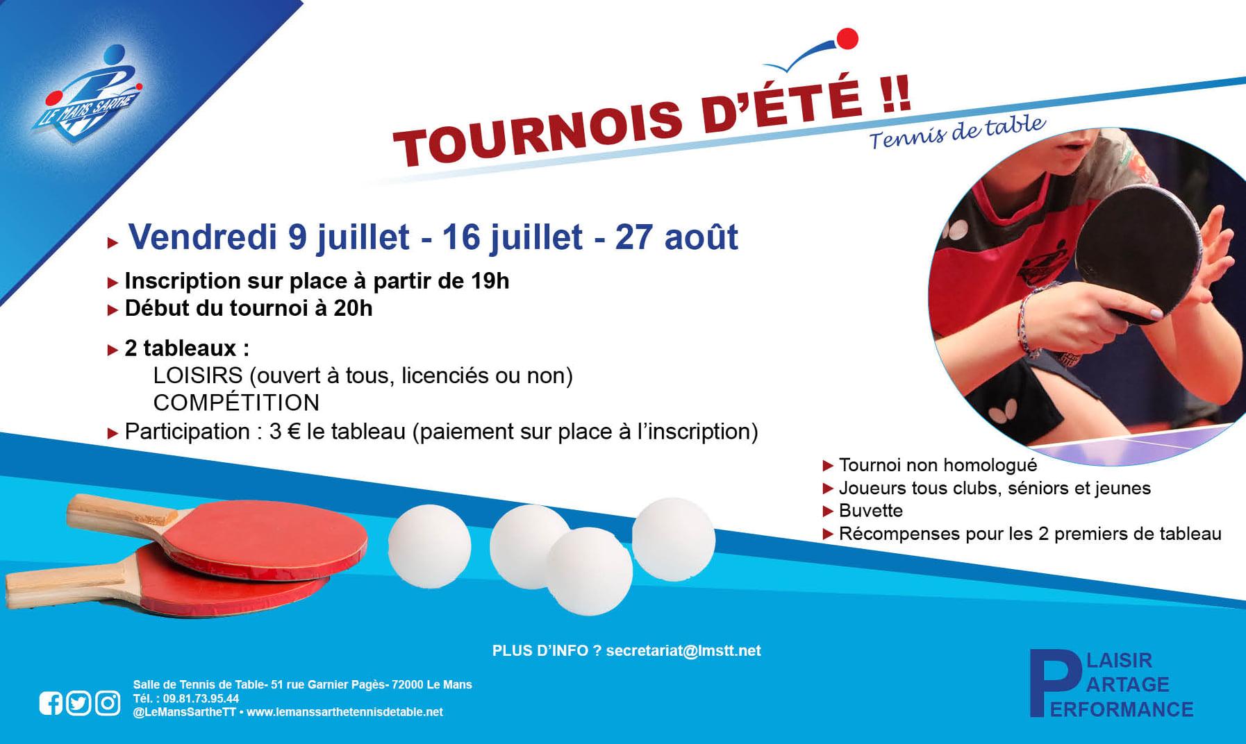 Tournois d'été organisés par le club de Le Mans Sarthe TT